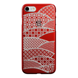 "【Web限定】AIR JACKET ""kiriko"" for iPhone8/7 千代柄・扇(紅)"