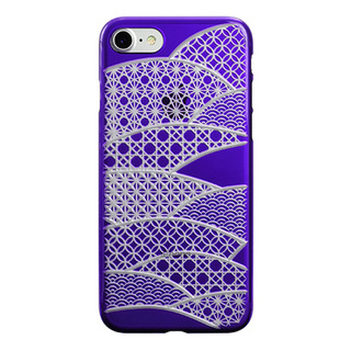 "【Web限定】AIR JACKET ""kiriko"" for iPhone7  千代柄・扇(葡萄)"