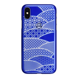 "【Web限定】AIR JACKET ""kiriko"" for iPhone X 千代柄・扇 (瑠璃)"