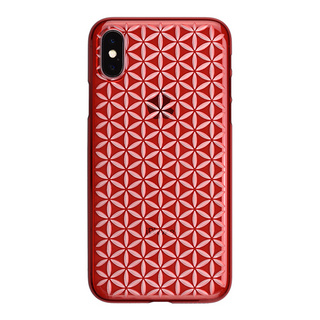 "【Web限定】AIR JACKET ""kiriko"" for iPhone X 麻の葉つなぎ (紅)"