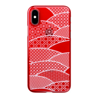 "【Web限定】Air Jacket ""Kiriko"" for iPhone XS 千代柄 (扇) 紅"