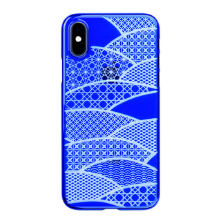 "【Web限定】Air Jacket ""Kiriko"" for iPhone XS 千代柄 (扇) 瑠璃"