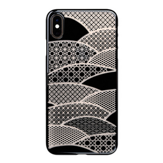 "【Web限定】Air Jacket ""Kiriko"" for iPhone XS Max 千代柄 (扇) ピアノブラック"