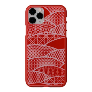 "【Web限定】Air Jacket ""kiriko"" for iPhone11 Pro 千代柄(扇) (紅)"