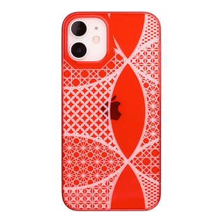 "【Web限定】Air Jacket ""kiriko"" for iPhone12 mini 千代柄・七宝 (紅)"