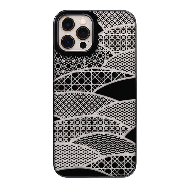 "【Web限定】Air Jacket ""kiriko"" for iPhone12 / iPhone12 Pro 千代柄・扇 (ピアノブラック)"